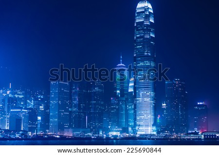 HONG KONG, CHINA - MARCH 3: Night View of Central business district in Hong Kong on March 3, 2013. The Night View of Hong Kong rated as Top Three Best Night Scene in the World.