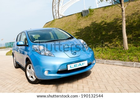 Hong Kong, China March 16, 2011 : Nissan Leaf test drive on March 16 2011 in Hong Kong. - stock photo