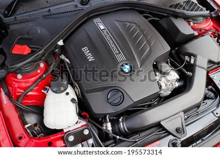 Hong Kong, China May 15, 2014 : BMW M235i Engine on May 15 2014 in Hong Kong. - stock photo