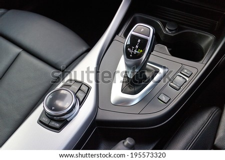 Hong Kong, China May 15, 2014 : BMW M235i Gear Box Stick on May 15 2014 in Hong Kong. - stock photo