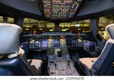 HONG KONG, CHINA - MAY 16, 2014: Emirates Airbus A380 aircraft interior on May 16, 2014. Emirates is the largest airline in the Middle East - stock photo