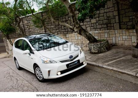 Hong Kong, China May 24, 2012 : Toyota Prius V Hybrid test drive on May 24 2012 in Hong Kong. - stock photo