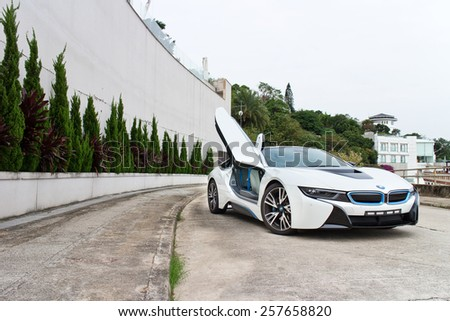 Hong Kong, China Nov 12, 2014 : BMW i8 2014 test drive on Nov 12 2014 in Hong Kong.