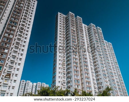 HONG KONG, CHINA - NOV 20 : Intensive residential buildings on Nov 20, 2014 in Hong Kong,Hong Kong is one of the world's most densely populated areas. - stock photo