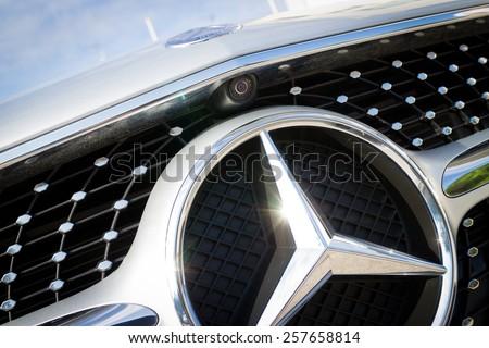 Hong Kong, China Nov 18, 2014 : Mercedes-Benz CLS 400 2014 front camera on Nov 18 2014 in Hong Kong. - stock photo