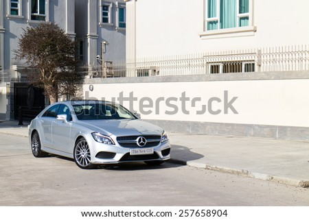 Hong Kong, China Nov 18, 2014 : Mercedes-Benz CLS 400 2014 test drive on Nov 18 2014 in Hong Kong. - stock photo