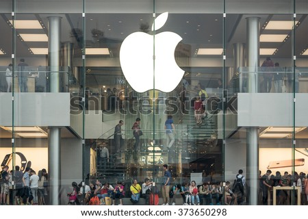 HONG KONG, CHINA - NOVEMBER 21, 2015: Apple Store window in Central District. Apple Inc. is an American multinational technology company headquartered in Cupertino, California. - stock photo