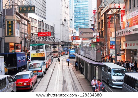 HONG KONG, CHINA�NOVEMBER 23: Traffic and city life in Central Des Voeux Road. The area is populated with 2 million people living in 47 square kilometers. November 23, 2007 Hong Kong, China - stock photo