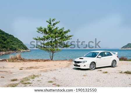 Hong Kong, China OCT 19, 2011 : Subaru WRX STI Sport Sedan test drive on OCT 19 2011 in Hong Kong. - stock photo