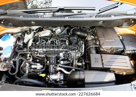 Hong Kong, China Oct 21, 2014 : Volkswagen CADDY 2014 Engine on Oct 21 2014 in Hong Kong.