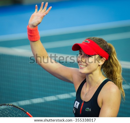 HONG KONG, CHINA - OCTOBER 15 :  Alize Cornet in action at the 2015 Prudential Hong Kong Tennis Open WTA International tennis tournament