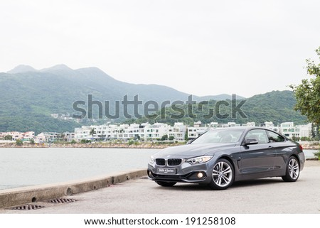 Hong Kong, China SEPT 25, 2013 : BMW 4-Series Coupe 2013 Model test drive on SEPT 25 2013 in Hong Kong. - stock photo