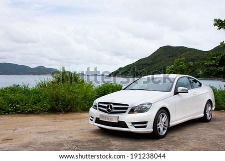 Hong Kong, China SEPT 7, 2012 : Mercedes-Benz C-Class C200 test drive on SEPT 7 2012 in Hong Kong. - stock photo