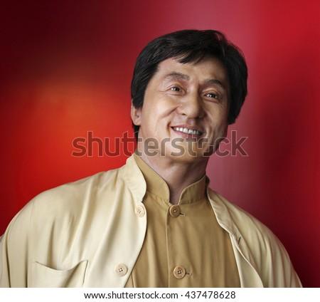 HONG KONG, CHINA - SEPTEMBER. 5, 2009: Jackie Chan, famous Hong Kong actor, wax statue is on display at Madame Tussauds Museum in Hong Kong. - stock photo