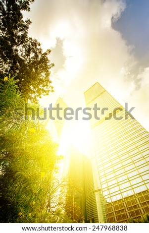 Hong Kong, China. Views of the skyscrapers below. Sunset. - stock photo