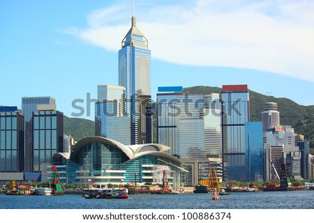hong kong city at day - stock photo