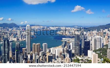 hong kong city at day - stock photo