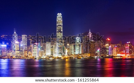 hong kong city at night - stock photo
