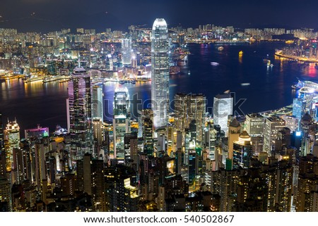 Hong Kong city at night
