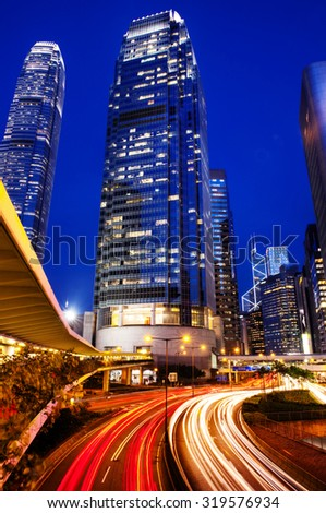 Hong Kong City Lights Cityscape Urban Scene Concept - stock photo