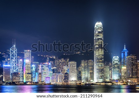 Hong Kong city night time