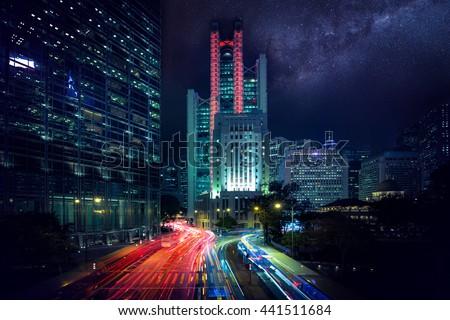 Hong Kong city night under the Milky Way  - stock photo