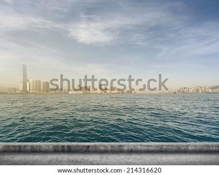 Hong Kong city scenery with Victoria Harbor and skyscrapers. - stock photo