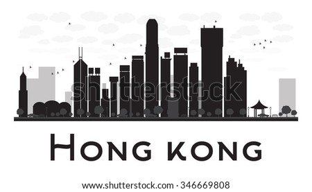 Hong Kong City skyline black and white silhouette. Concept for tourism presentation, banner, placard or web site. Business travel concept. Cityscape with famous landmarks - stock photo