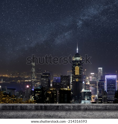 Hong Kong city skyline in night.