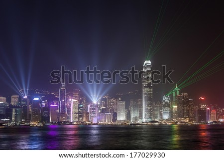 Hong Kong city skyline view from Kowloon - stock photo