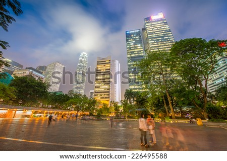 Hong Kong city skyline with night lights. - stock photo