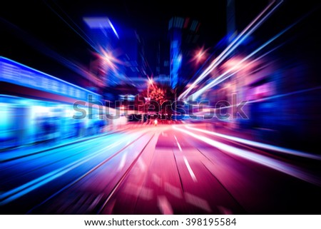Hong Kong City Street motion blurred for background - stock photo
