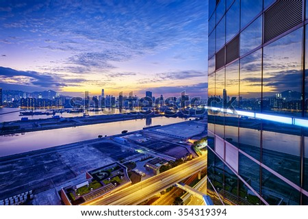 Hong Kong city sunset, view from kowloon. - stock photo