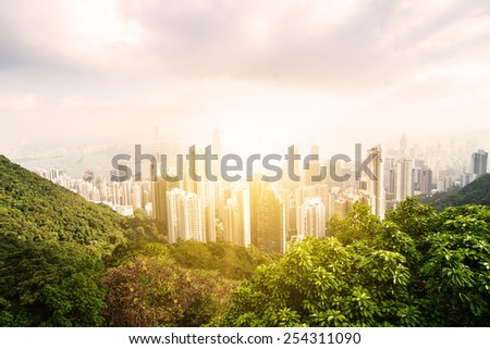 Hong Kong city view from The Victoria Peak. Sunset. China. - stock photo