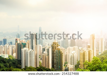 Hong Kong city view from The Victoria Peak. Sunset. China.