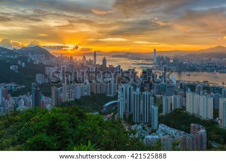 Hong Kong city with sunset