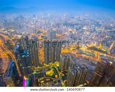 Hong Kong cityscape with hazy skies in the Kowloon district.