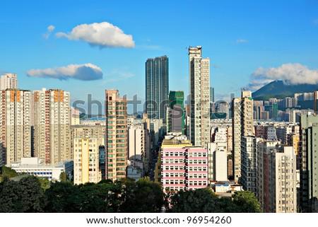 Hong Kong crowded building - stock photo