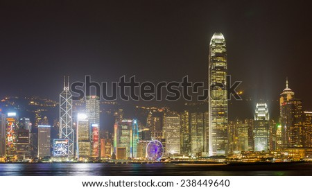 HONG KONG - DEC 6, 2014: Hong Kong night skyline at night. The city is a major tourist attraction with more than 30 million visitors every year.  - stock photo