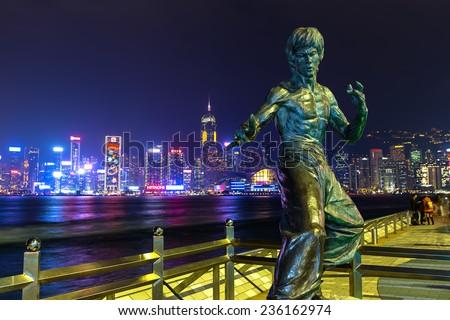 Hong Kong - December 9, 2014: Bruce Lee statue at the Avenue of Stars in Tsim Sha Tsui, Hong Kong, China - stock photo