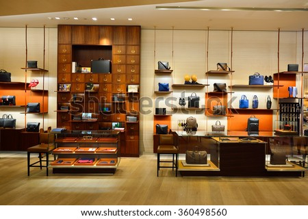 HONG KONG - DECEMBER 25, 2015: inside the Louis Vuitton store. Louis Vuitton is a French fashion house, one of the world's leading international fashion houses - stock photo