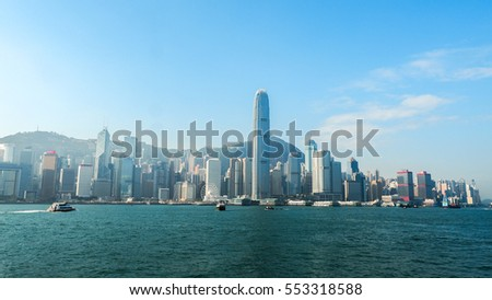 HONG KONG - DECEMBER 10: Sea front view with luxurious buildings in Hong Kong on  December 10, 2016