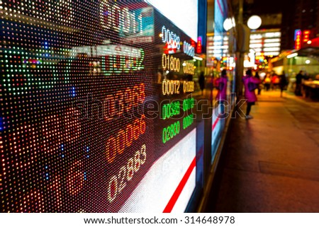 Hong Kong display stock market charts - stock photo