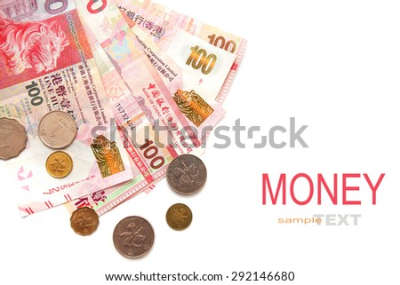 Hong Kong dollar money banknote with coins isolated on white