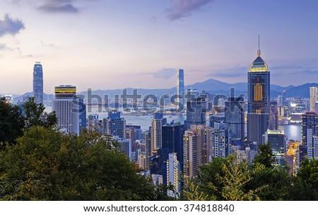 Hong Kong downtown area at sunset - stock photo