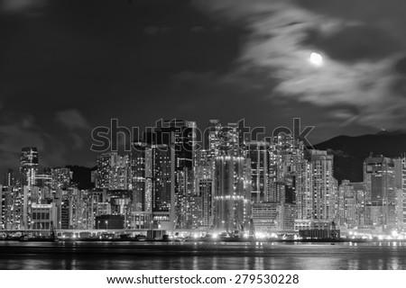Hong Kong downtown skyscrapers at night - stock photo