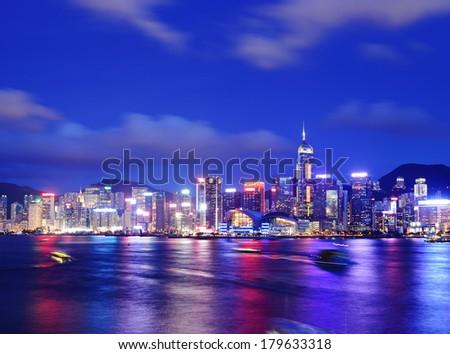 Hong Kong during evening - stock photo