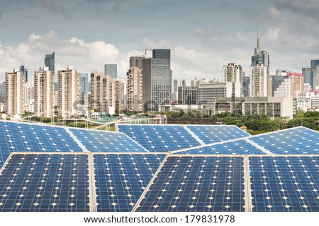 Hong Kong,Ecological energy renewable solar panel plant - stock photo