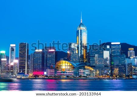 Hong Kong famous night view - stock photo