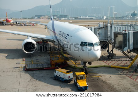 HONG KONG,  FEB 07, 2015: El Al Israel Airlines flight in Hong Kong International Airport. About 90 airlines operate flights from HKIA to over 150 cities across the globe.  - stock photo